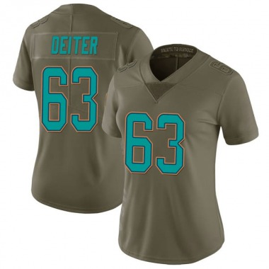 Women's Nike Miami Dolphins Michael Deiter 2017 Salute to Service Jersey - Green Limited