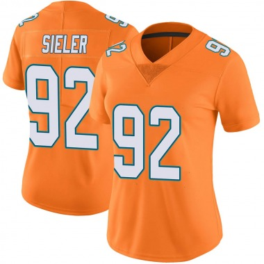 Women's Nike Miami Dolphins Zach Sieler Color Rush Jersey - Orange Limited