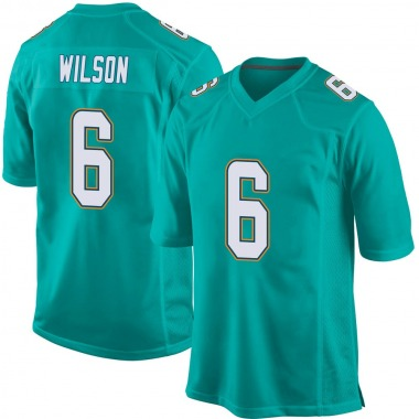 Youth Nike Miami Dolphins Stone Wilson Team Color Jersey - Aqua Game